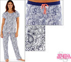 New Ladies Cotton Pyjamas Navy Paisley Print Size 8-10 12-14 16-18