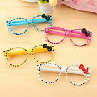 Lovely Hello Kitty Gel Ink Ball Pen Signature Ballpoint Glasses Bow Kids Gift