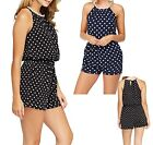 Ladies Pearl Neck Polka Dot Play Suit Slit Open Back Womens Black Navy 12 NEW