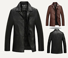 New Mens Soft Leather Full Length COAT Long Over Jacket Autumn Spring Motorcycle