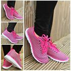 Womens Ladies Two-Tone Lightweight Flat Gym Pumps Sports Trainers Shoes UK Sizes