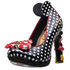 Irregular Choice Oh My! Womens Black Leather & Textile Casual Shoes Slip-on