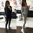 Sexy Women Off Shoulder Top + Long Pants Ladies Leisure Sport 2pcs Set Outfits