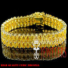 MENS LADIES 2 ROW YELLOW CANARY SIMULATED DIAMOND TENNIS BRACELET GOLD PLATTED