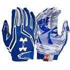 new mens M under armour swarm football gloves 1271170-400 white/royal clutch fit