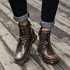 New Arrival Leather Martin Work Ankle Boots Mens Fashion High Top Lace Up Shoes