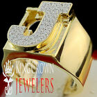 Mens Big Bold 10K Yellow Gold On Real Silver Initial Letter J Simu Diamond Ring