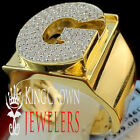 Mens Big Bold 10K Yellow Gold On Real Silver Initial Letter G Simu Diamond Ring