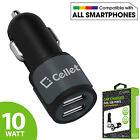 Cellet Universal High Powered 10Watt / 2.1A Dual USB Port Cell Phone Car Charger