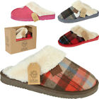Womens Ladies New Tartan Fur Lined Indoor Cosy Warm Slip On Mules Slippers Sizes