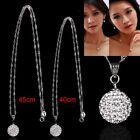 Women 925 Sterling Silver Diamond Crystal Ball Pendant Chain Jewelry Girl Gift