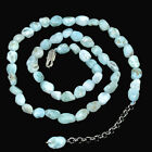 Natural GemStone Blue Larimar Freedom Nugget Shape Necklace Silver Clasp 18''