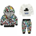 3 Pcs Baby Clothes Set Newborn Girl Boy Tracksuits Zipper Jacket Pants Shirts