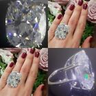 Huge 925 Silver White Sapphire Birthstone Ring Wedding Proposed Women Jewelry