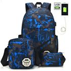 3x Backpack Unisex USB Charging Laptop Backpack School Bag + Shoulder Bag &Purse