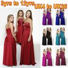 Long Red purple pink blue black prom flower girl girls Bridesmaid dress dresses