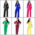 Women's Long Sleeve V Neck Long Loose Belted Casual Jumpsuits Rompers