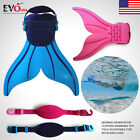 Mermaid Monofin Fin Flippers Swimming Toy Tails Adjustable for Boys/Girls Kids A