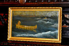 older  Western Americana ,  Pioner Man in Canoe , Oil Painting