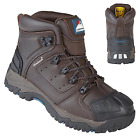 MENS BROWN WATERPROOF SAFETY LEATHER S3 MIDSOLE STEEL TOE CAP WORK BOOTS UK SIZE