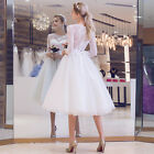 2017 New 3/4 Sleeve Knee Length Lace Tutu Bow Back Sexy Evening Wedding Dress