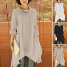 Fashion Women Cotton Linen Crewneck Tunic Baggy Long Loose Shirt Dress Tops Tank