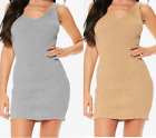 Womens Ladies Knitted Metallic Lurex Shiny Sexy Bodycon V Neck Ribbed Dress 8-14