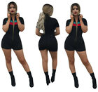 Sexy Women Short Sleeve Front Zipper Bodycon Short Jumpsuit&Romper Club Casual