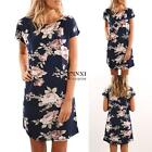 New Fashion Women Casual O-Neck Short Sleeve Prints Pullover Loose Dress TXSU