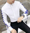 Men's Unique Drawstring See Through Long Sleeve Shirt Casual Button Front Tops