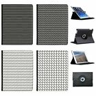 Black & White Stripes & Patterns Folio Cover Leather Case For Apple iPad