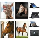 Beautiful Elegant Brown Horses Folio Cover Leather Case For Apple iPad
