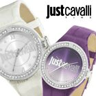 JUST CAVALLI LADIES LEATHER STRAP WATCH WHITE&VIOLET WITH CRYSTALS R7251201502/4