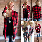 UK Womens Striped Plaid Check Jacket Cardigan Ladies Casual Tops Coat Jumpers