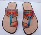 100% MOROCCAN LEATHER  MULTI COLOUR SANDALS * 3 sizes available ORANGE