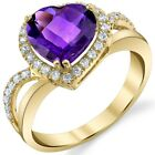 Oravo 14K Yellow Gold 2.25 ct Amethyst Heart-Shaped Ring Size 5-9 image