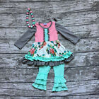 Girls Floral Aqua Twirl Dress Ruffle Pants Outfit with Necklace 2T 3T 4T 5 6 7