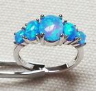 Fashion Silver Blue Fire Opal Fashion Jewelry Ring Wedding Engagement Ring Gift