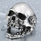 Fashion Steampunk Stainless Steel Jewelry Skull Ring Vintage Silver&Black Rings