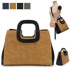 CASUAL EVERYDAY MED WINDO SATCHEL TOTE SHOULDER CROSS BAG PURSE FAUX LEATHER
