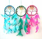 Dream Catcher - Tree of Life - Wood Beads and Suede Ring - 6 Colours