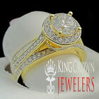 Ladies Bridal Ring Solitaire Diamond Yellow Gold Tone Iced Out Fancy 925 Silver