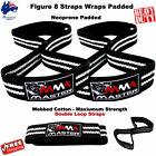 FIGURE 8 STRAPS MMA MASTER NEOPRENE PADDED GYM BAR STRAPS WEIGHTLIFTING FITNESS