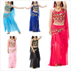 BellyLady Professional Belly Dance Costume, Halter Bra Top, Hip Scarf and Skirt