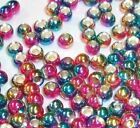 PREMIUM RAINBOW BRASS BEADS FOR FLY TYING - 7 SIZES TO PICK FROM - 25 COUNT