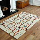BEST QUALITY RUG IVORY MULTI COLOUR CUBE SOFT MODERN 60X120CM SMALL RUG MAT SALE