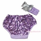 Infant Lavender Bling Sequins Baby Cotton Bloomer Pantie Headband Bow 6m-3Y