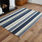 140x200cm MEDIUM KILIM BLUE CLEARANCE RUG FLAT WOOL STRIPE HAND WOVEN RUG MAT