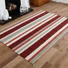 LARGE MEDIUM SIZE KILIM RED FLAT WOOL STRIPE MAT CLEARANCE RUG HAND WOVEN RUG