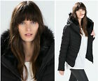 Authentic Zara Black Quilted Padded Winter Jacket Coat With Fur Collar New